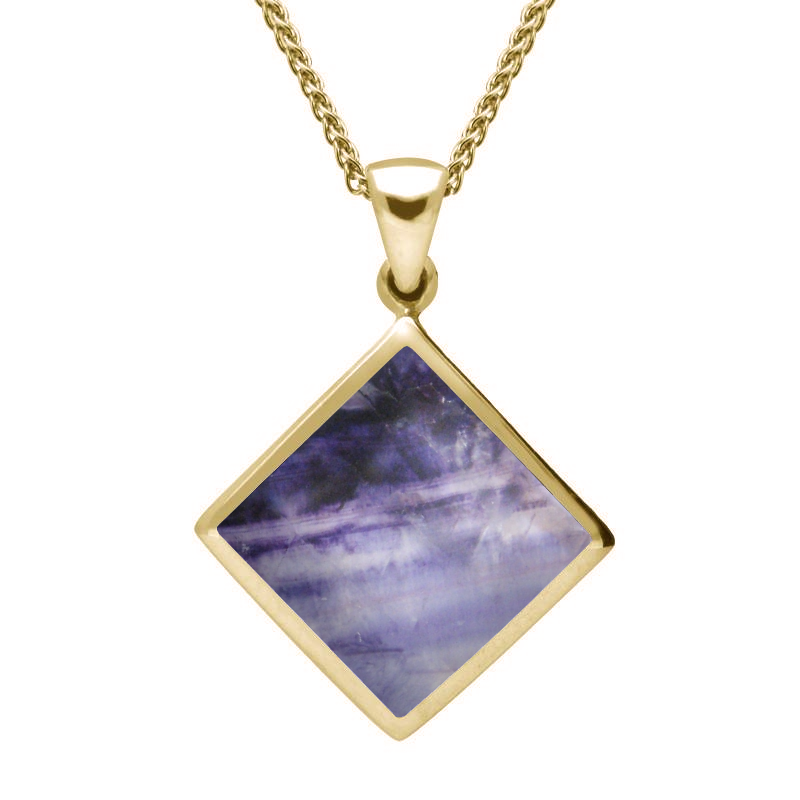 9ct Yellow Gold Blue John Rhombus Necklace. P084.