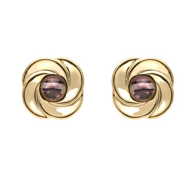 9ct Yellow Gold Blue John Round Swirl Stud Earrings E1625