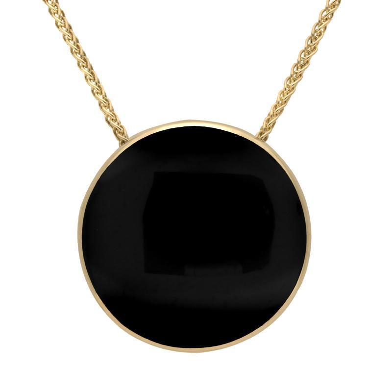 9ct Yellow Gold Whitby Jet 30mm Round Necklace P1869