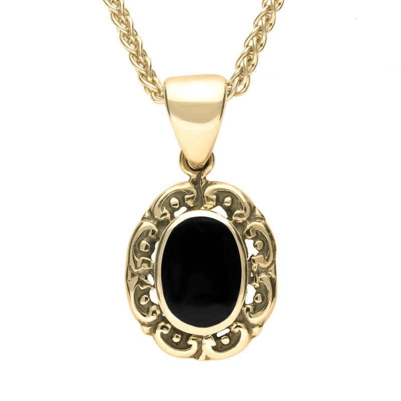 9ct Yellow Gold Whitby Jet Antique Frame Necklace. P128.