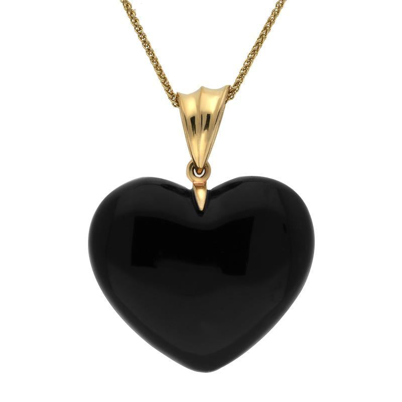 9ct Yellow Gold Whitby Jet Carved Heart Wavy Bail Necklace, PUNQ0002184.
