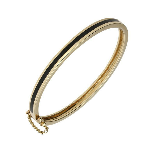 9ct Yellow Gold Whitby Jet Channel Set Hinged Bangle B301