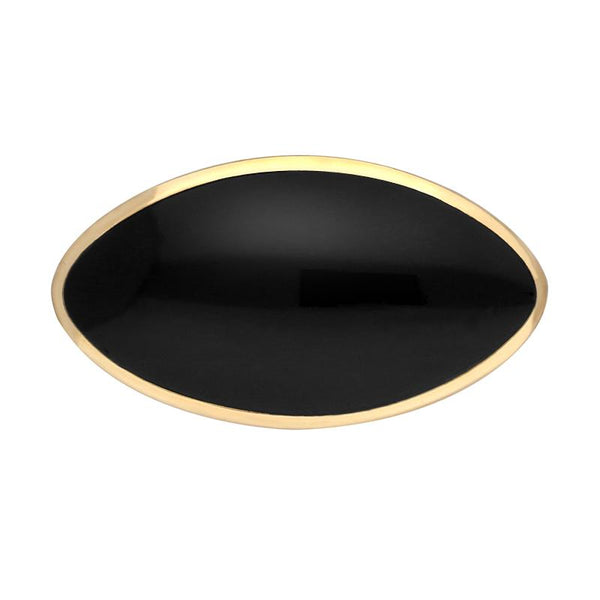9ct Yellow Gold Whitby Jet Contemporary Oval Brooch. M086.