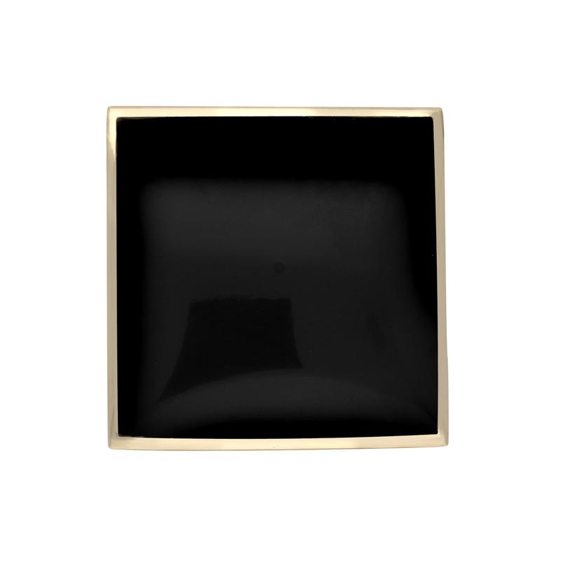 9ct Yellow Gold Whitby Jet Contemporary Square Brooch. M084.