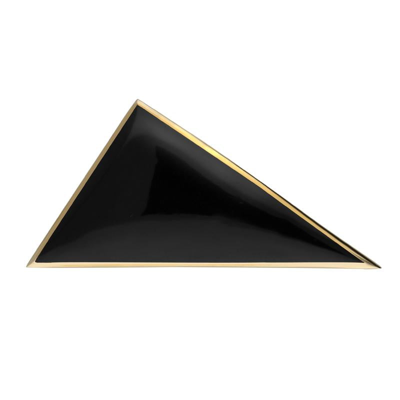 9ct Yellow Gold Whitby Jet Contemporary Triangular Brooch. M110.