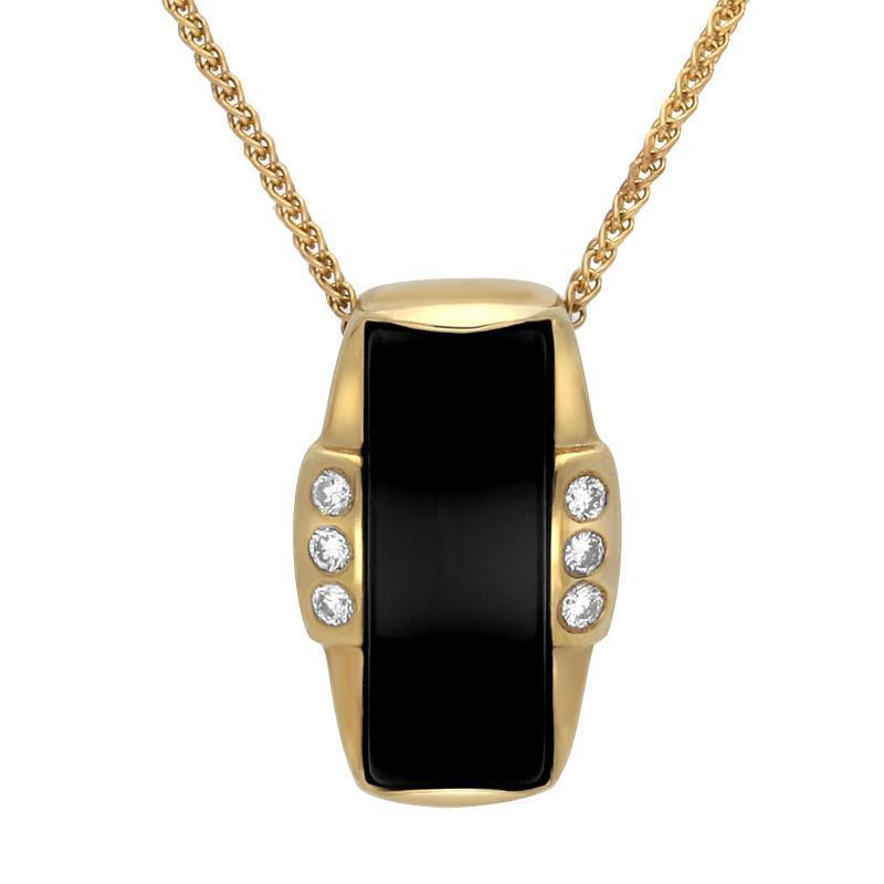 9ct Yellow Gold Whitby Jet Diamond Barrel Shaped Six Stone Necklace. P1606