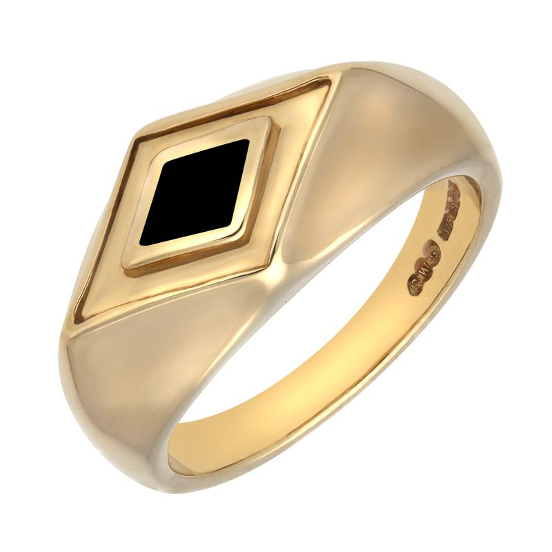 9ct Yellow Gold Whitby Jet Diamond Shape Signet Ring. R179.