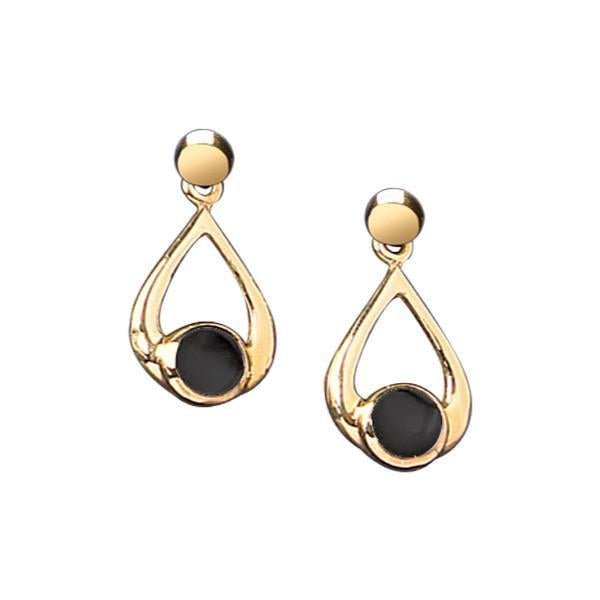 9ct Yellow Gold Whitby Jet Small Teardrop Earrings. P087.