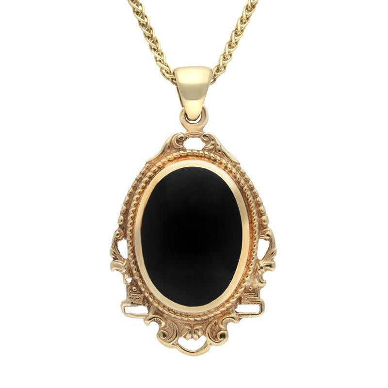9ct Yellow Gold Whitby Jet Edwardian Oval Drop Necklace P090