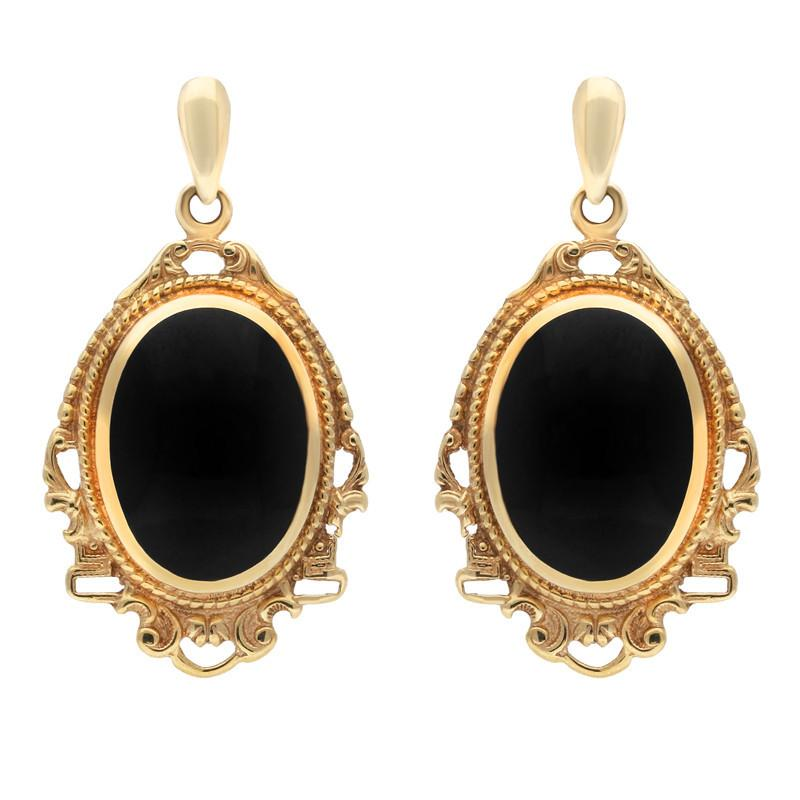 9ct Yellow Gold Whitby Jet Edwardian Style Oval Drop Earrings E076