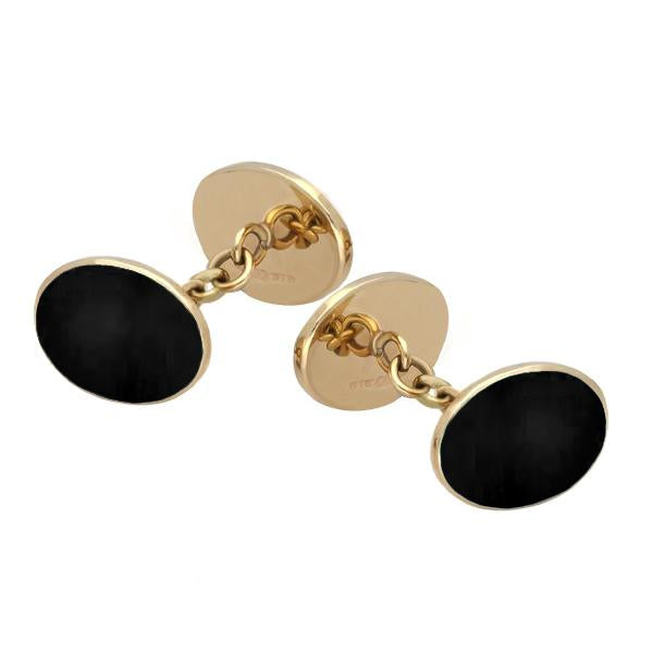 9ct Yellow Gold Whitby Jet Four Stone Chain Cufflinks, CL006.