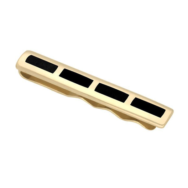 9ct Yellow Gold Whitby Jet Four Stone Inlaid Tie Slide. CL464.