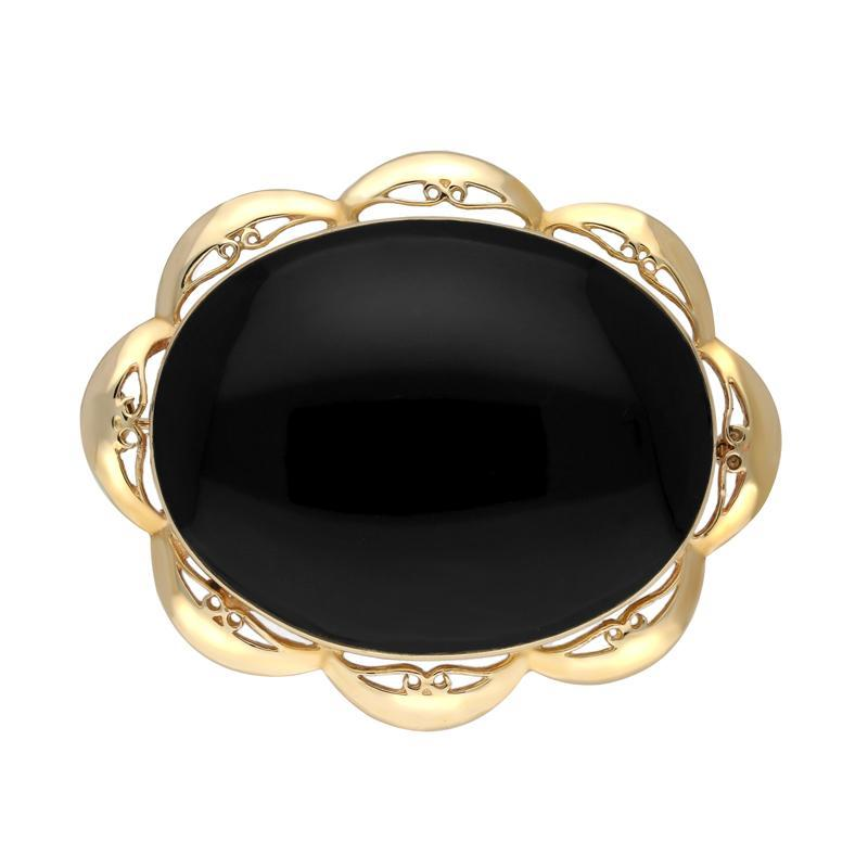 9ct Yellow Gold Whitby Jet Framed Frill Edge Oval Brooch. M016.