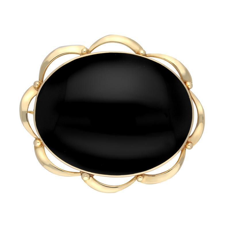9ct Yellow Gold Whitby Jet Framed Frill Edge Oval Brooch. M189.