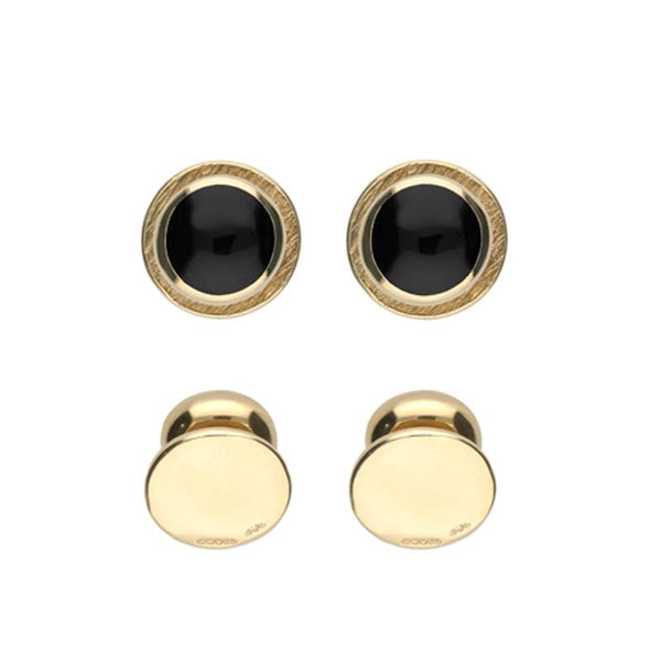9ct Yellow Gold Whitby Jet Framed Round Shirt Studs. CL089.