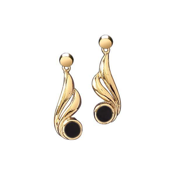 9ct Yellow Gold Whitby Jet Gold Double Twist Drop Earrings E077