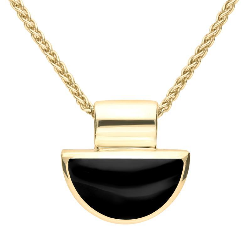 9ct Yellow Gold Whitby Jet Half Moon Shape Necklace. P391