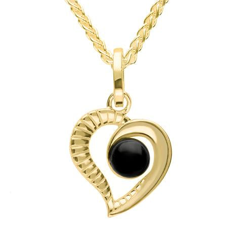 9ct Yellow Gold Whitby Jet Half Ridged Heart Necklace. P2548.