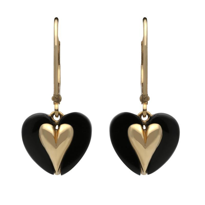 9ct Yellow Gold Whitby Jet Heart Hook Drop Earrings. E1868.