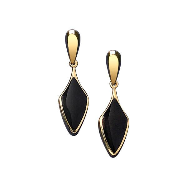 9ct Yellow Gold Whitby Jet Kite Drop Earrings E224