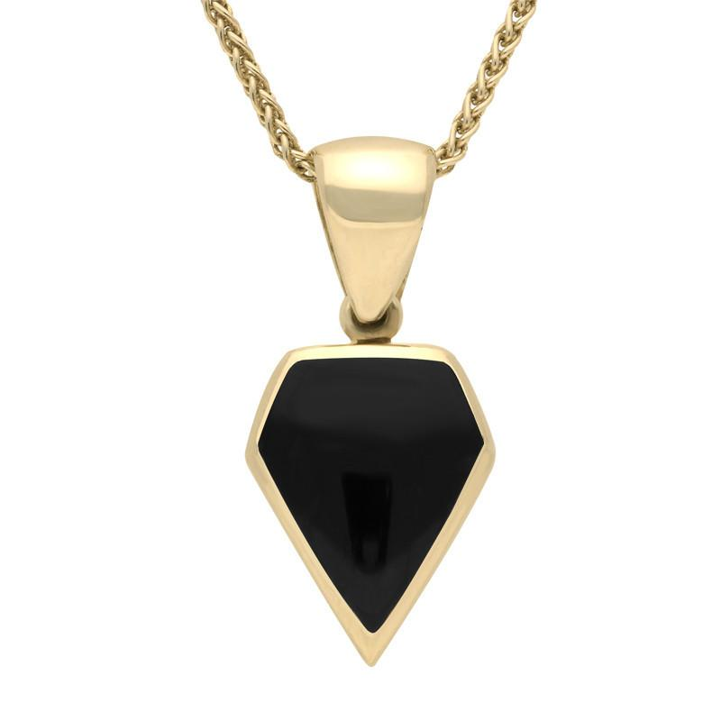 9ct Yellow Gold Whitby Jet Kite Shaped Necklace. P386.