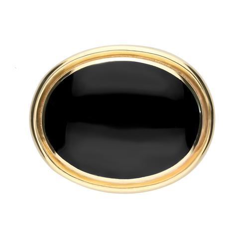 9ct Yellow Gold Whitby Jet Large Classic Framed Oval Brooch. M180.
