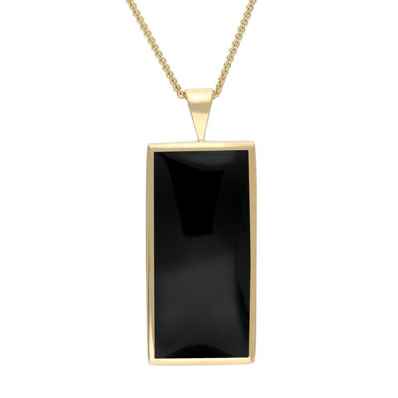 9ct Yellow Gold Whitby Jet Large Oblong Necklace P078
