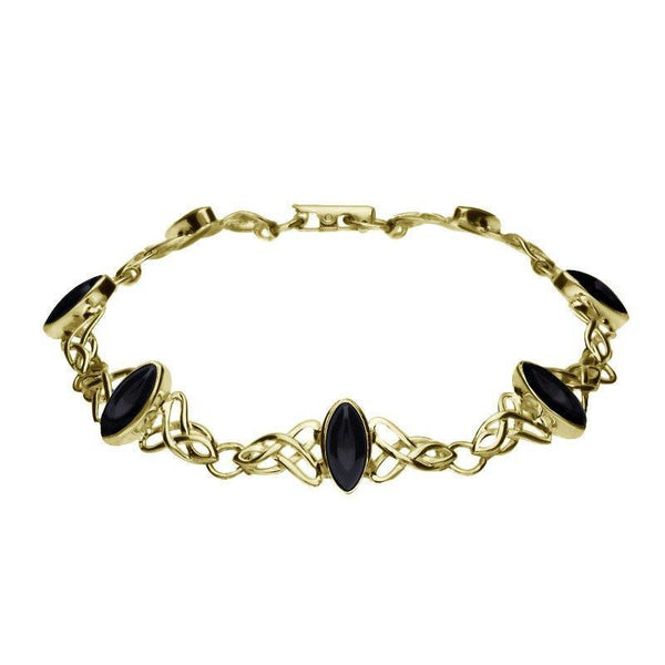 9ct Yellow Gold Whitby Jet Marquise Shaped Celtic Bracelet B594