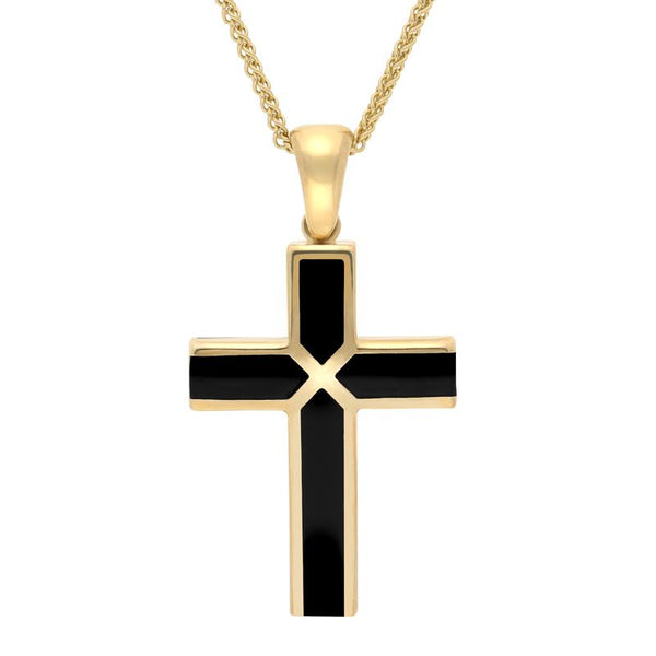 9ct Yellow Gold Whitby Jet Medium Four Stone Cross Necklace