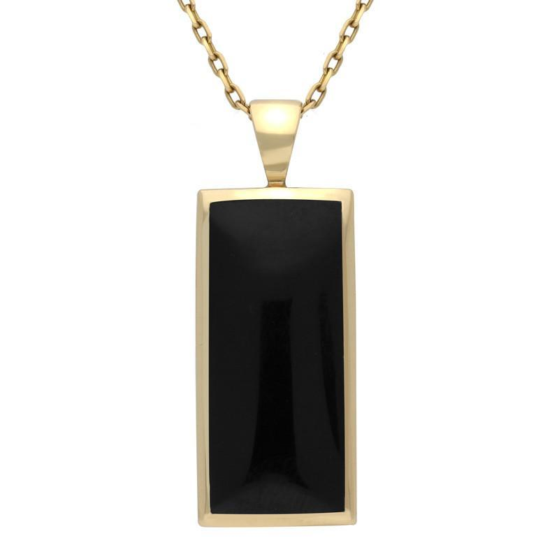9ct Yellow Gold Whitby Jet Medium Oblong Necklace. P246.