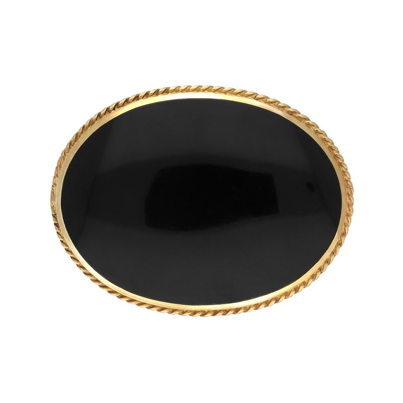 9ct Yellow Gold Whitby Jet Medium Oval Rope Edge Brooch. M040.