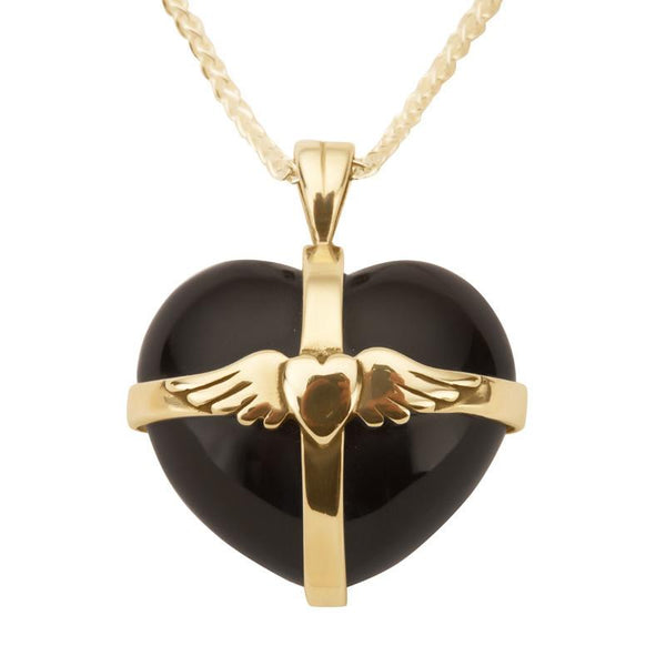9ct Yellow Gold Whitby Jet Medium Winged Cross Heart Necklace P1856