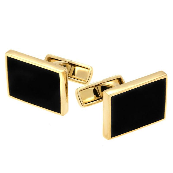 9ct Yellow Gold Whitby Jet Oblong Cufflinks, CL416.
