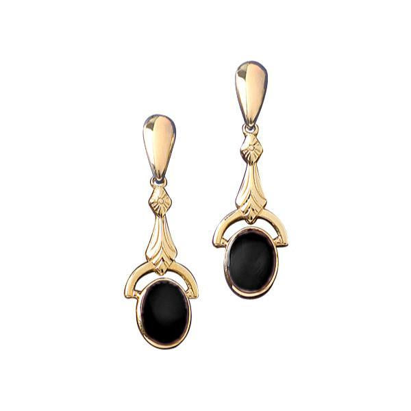 9ct Yellow Gold Whitby Jet Oval Art Deco Drop Earrings E052