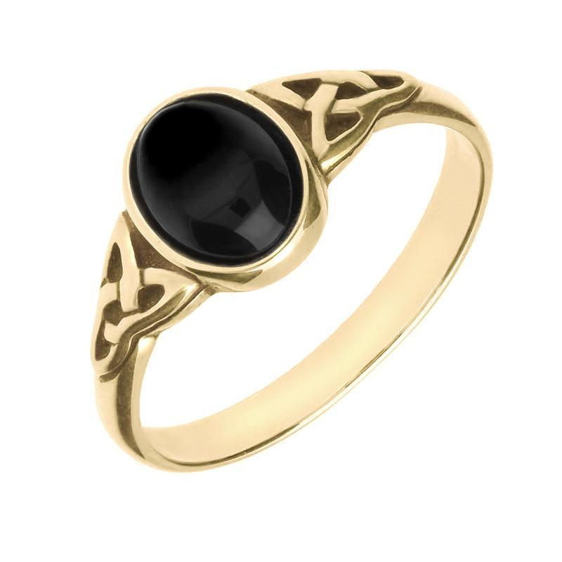 9ct Yellow Gold Whitby Jet Oval Celtic Shoulder Ring R827