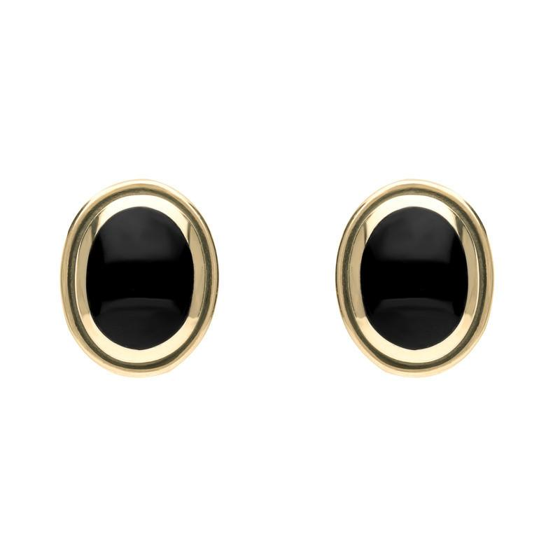 9ct Yellow Gold Whitby Jet Oval Framed Edge Stud Earrings. E178