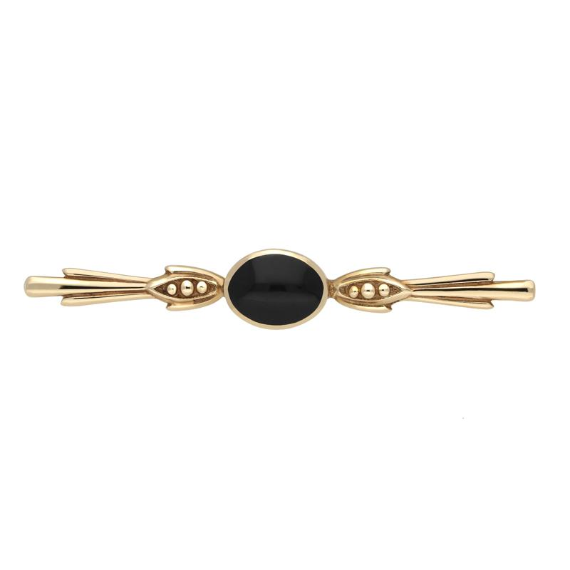 9ct Yellow Gold Whitby Jet Oval Scroll Brooch. M063.