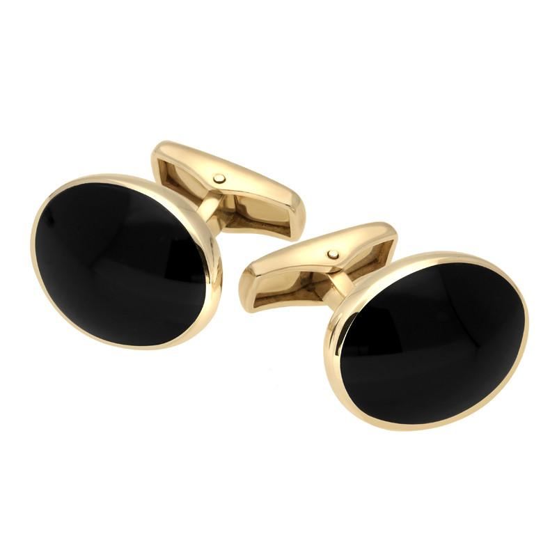 9ct Yellow Gold Whitby Jet Oval Shape Cufflinks, CL415.