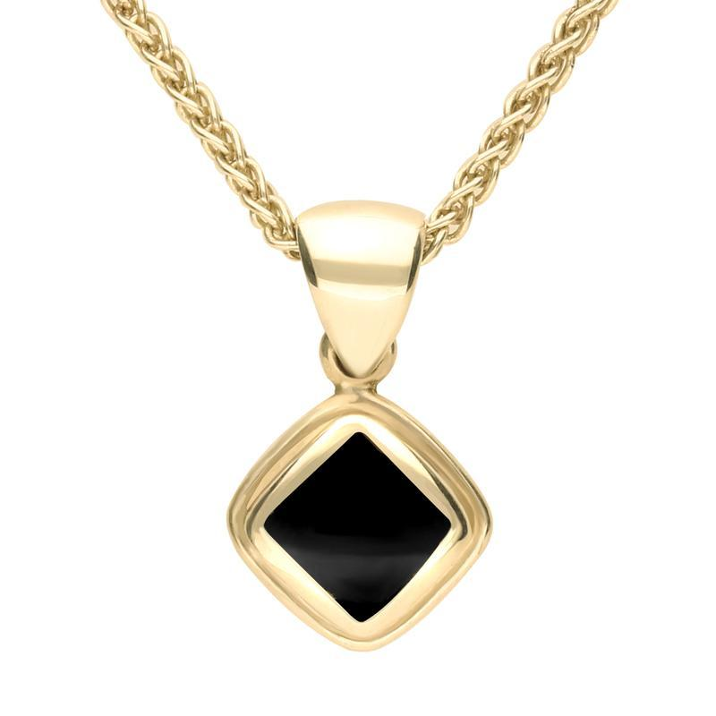 9ct Yellow Gold Whitby Jet Plain Edge Square Necklace. P324
