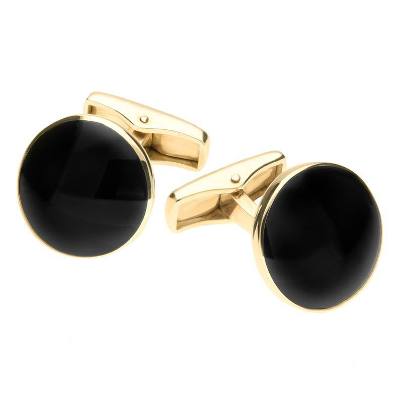 9ct Yellow Gold Whitby Jet Round Cufflinks. cl420.