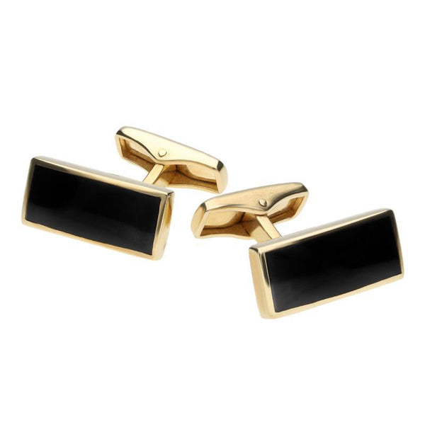 9ct Yellow Gold Whitby Jet Slim Oblong Cufflinks, CL418.