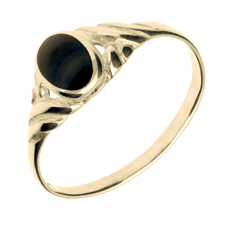 9ct Yellow Gold Whitby Jet Small Carved Scroll Ring