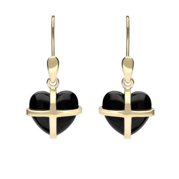 9ct Yellow Gold Whitby Jet Small Cross Heart Drop Earrings E1287