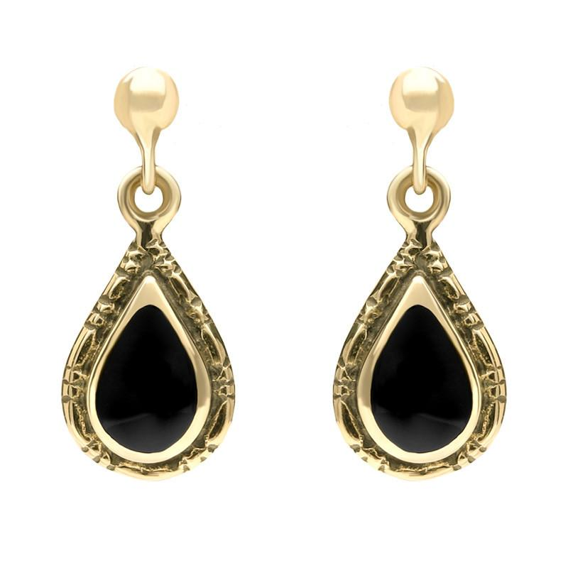 9ct Yellow Gold Whitby Jet Small Pear Drop Earrings E142