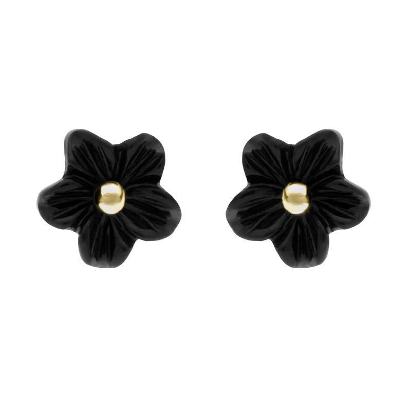 9ct Yellow Gold Whitby Jet Small Petal Stud Earrings. E1321.