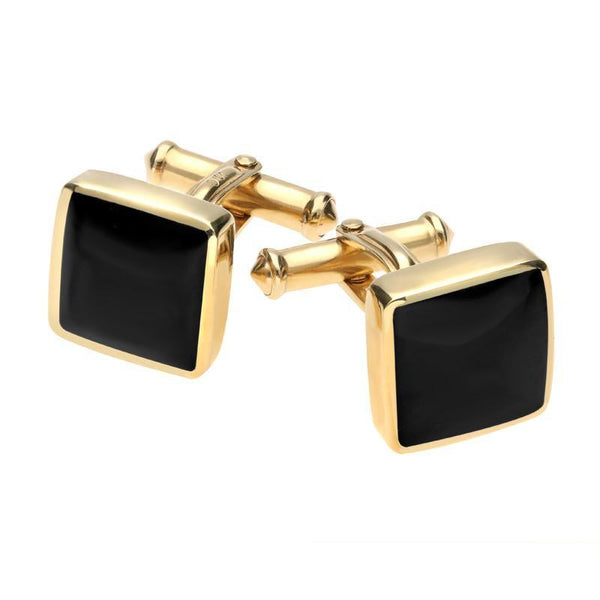 9ct Yellow Gold Whitby Jet Square Cufflinks CL129