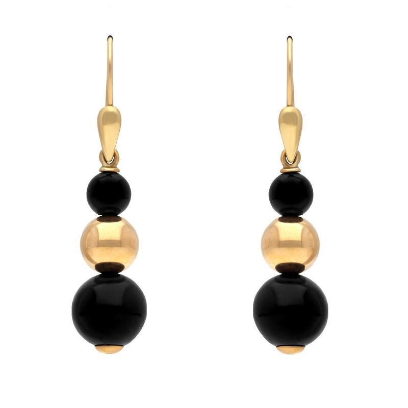 9ct Yellow Gold Whitby Jet Three Piece Bead Drop Earrings E1495