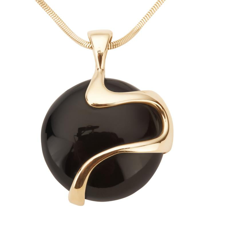 9ct Yellow Gold Whitby Jet Wavy Round Disc Necklace P1851