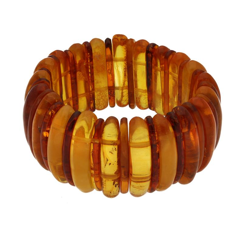 Baltic Amber Large Two Tone Expanding Stretch Bracelet 00084807