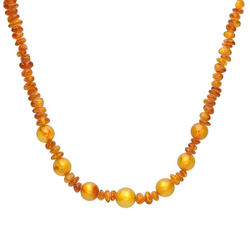 Baltic Amber Beaded Six Ball Necklace, N6046.